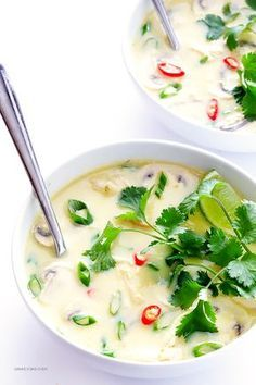 This Tom Kha Gai soup may not be 100% authentic, but I'd take this over take out any day! It's really easy and is a little limey, so creamy of the coconut milk, has a nice back heat from the cayenne, and is full of tender chicken!
