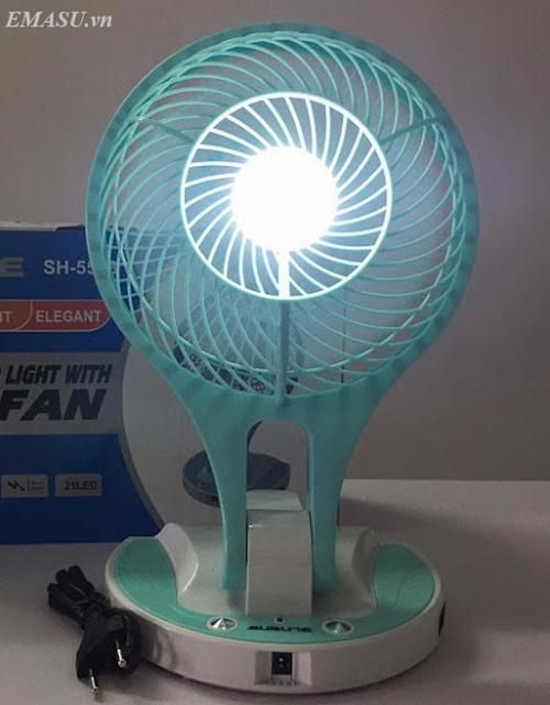 Quạt sạc tích điện cao cấp kèm đèn - QSTDCC004X2