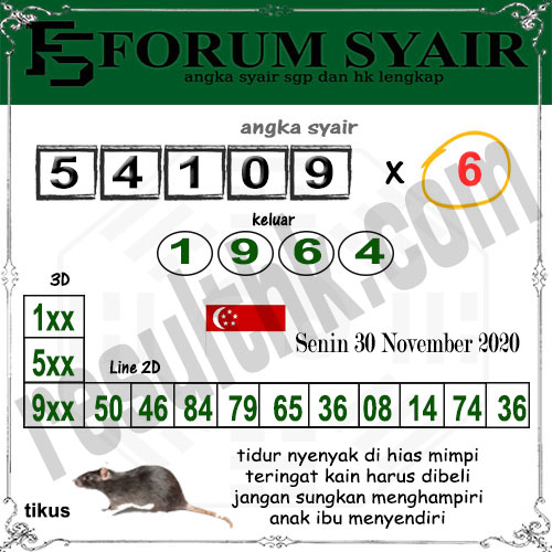Forum Syair SGP Senin 30 November 2020