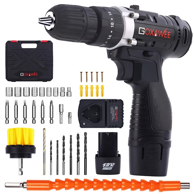AMAZON - 40% OFF Cordless drill  2 Battery Stylish Toolbox 100pcs Accessories