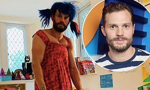 Actor Jamie Dornan looks unrecognisable in female outfit after playing dress up with his daughters