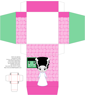 printable Bride of Frankenstein gift box