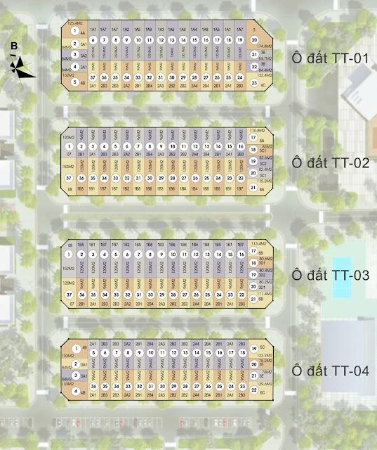 Bố trí tổng thể các phân khu liền kề biệt thự tại Mon City