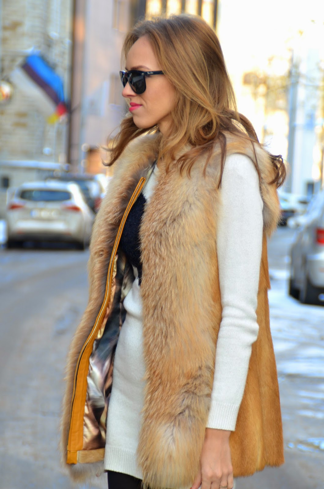 ray-ban-sunglasses-fox-fur-vest-winter-outfit kristjaana mere