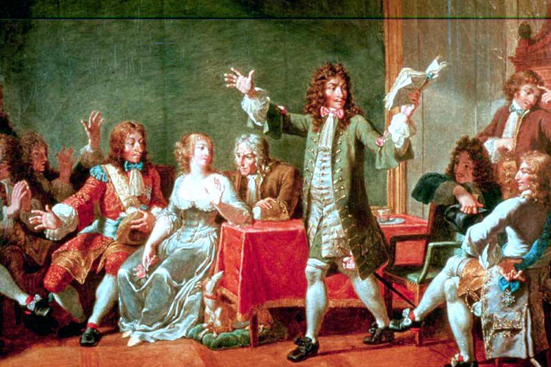 """Nicolas-André Monsiau: """"Moliere lisant le Tartuffe chez Ninon de l'Enclos."""""""
