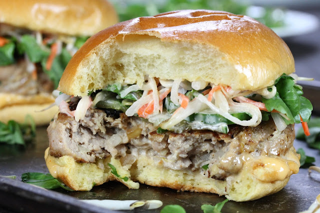 Pork Bánh Mì Burger with Honey Sriracha Mayo