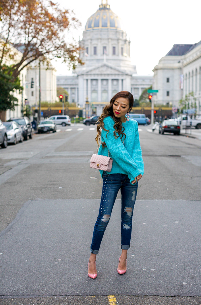 turquoise balloon sleeve sweater, topshop turquoise sweater, pearl embellished jeans, christian louboutin pumps, baublebar earrings, chanel mini flap, kendra scott necklace, holiday outfit ideas