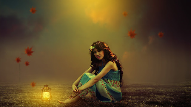 GIRL WITH LANTERN PHOTOSHOP PHOTO MANIPULATION | DESIGN WITH PRASHANT
