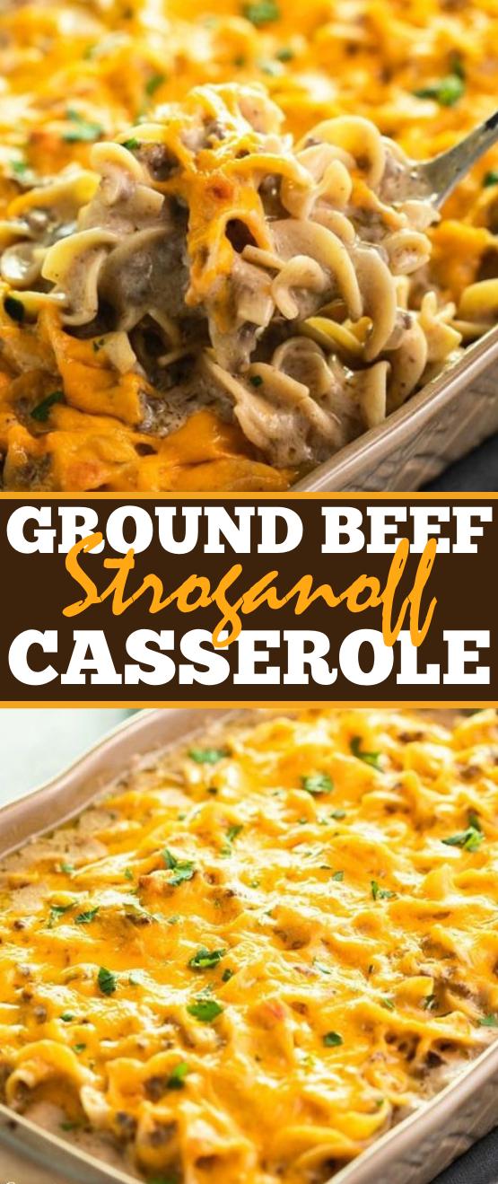 Ground Beef Stroganoff Casserole #dinner #casserole #beef #noodle #comfortfood