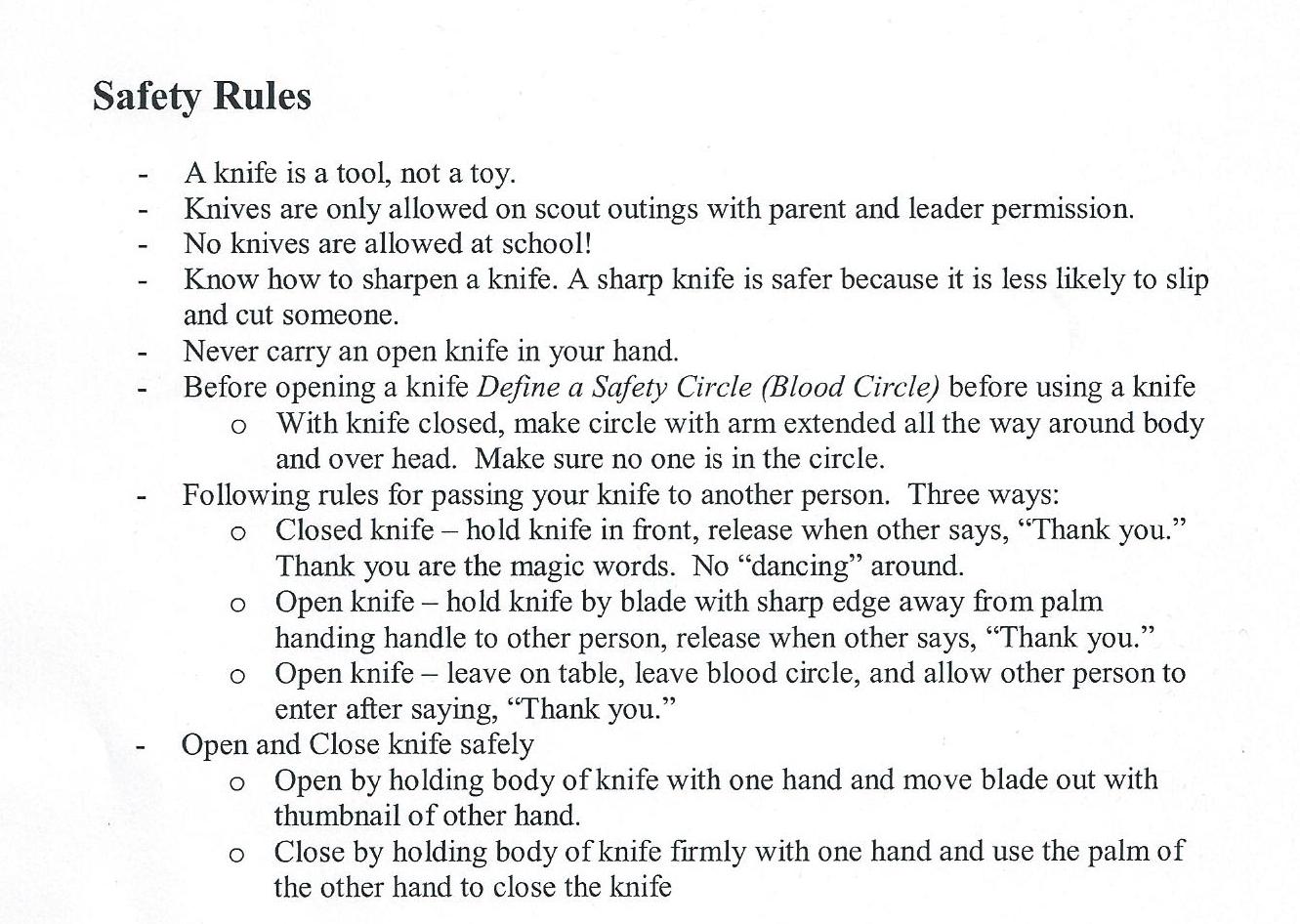 Knife Worksheet