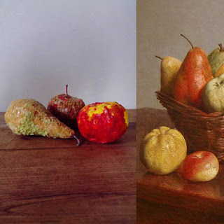 "Véronique Aadli : Poire et deux pommes, - ""Après Fantin-Latour"", Exposition de produits dérivés inspirés par l'univers du peintre Henri Fantin-Latour, Galerie de la Marraine - Fantin-Latour : Nature morte, 1866, détail (National Gallery of Art)"