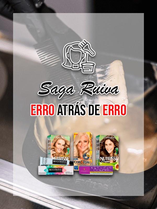 Saga Ruiva em busca do tom de ruivo perfeito. Tintas 8.0 e 67 Garnier Nutrisse, 12.11 Cor&Ton, 7.4 Hidrabell, 9.4 e 8.4 Bio Extratus.