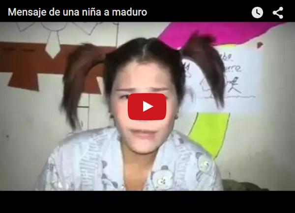 """Una """"NIña"""" le manda un mensaje a Nicolás Maduro"""