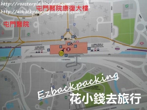 兆康站-屯門醫院及屯門醫院康復大樓位置圖
