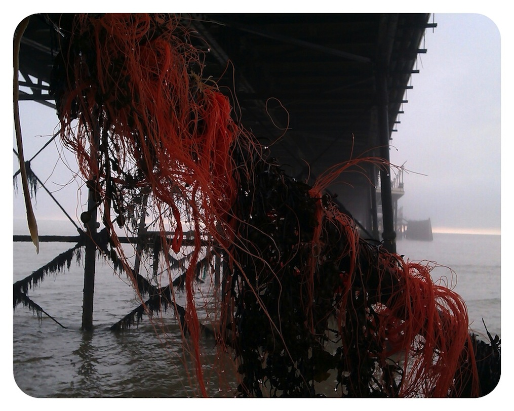 Fishmermans nets caught under the pier