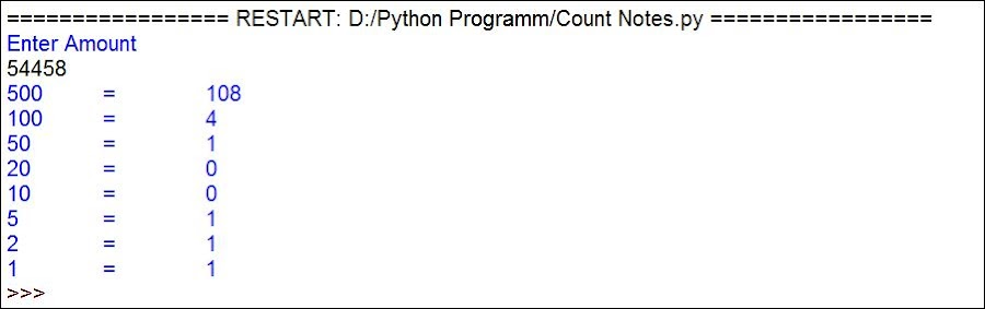 Program to Count Total Number of Notes in Given Amount | Python Program to Calculate Currency Notes
