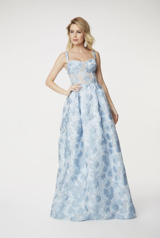 vestido longo azul serenity para madrinha de casamento