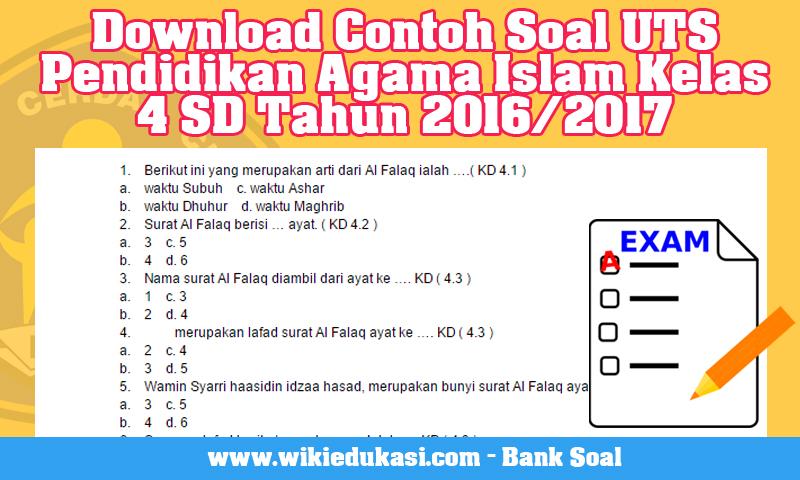 Download Contoh Soal UTS Pendidikan Agama Islam Kelas 4 SD