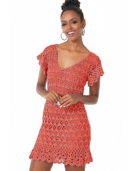 Ажурное летнее платье крючком. Схема вязания