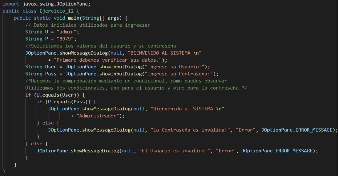 comprobar usuario y contraseña en Java