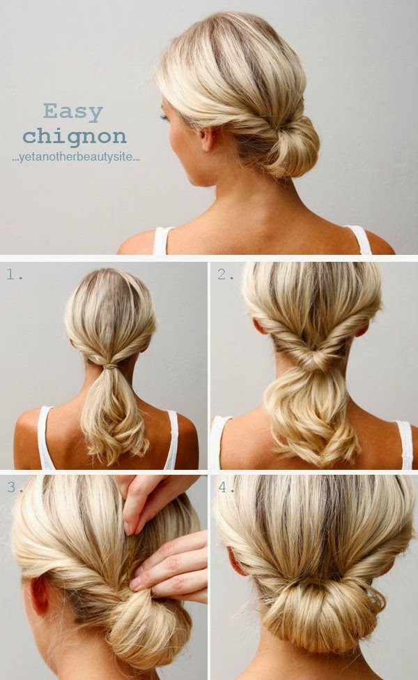 A twist, a flip, and a couple of pins: great for medium-length hair.