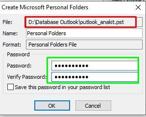 Pemberian Password Pada File Pst baru