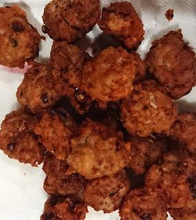 fried gluten free egg free chicken mince balls on a kitchen towel