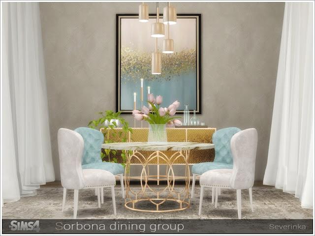 Sorbona dining group Сорбонна столовая группа для The Sims 4 Набор мебели для украшения столовой. В комплект входят 9 предметов: - шкаф (комод) - шкаф маленький (комод) - круглый стол на 6 человек - мягкий стул - посуда - покраска - 3 свечи - потолочный светильник (короткие стены) - потолочная лампа (средние стены) Стол на 6 человек требует пакета Backyard Stuff Pack Автор: Severinka