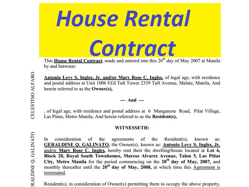 House Rental Contract free to print - doc and pdf Sample Contracts