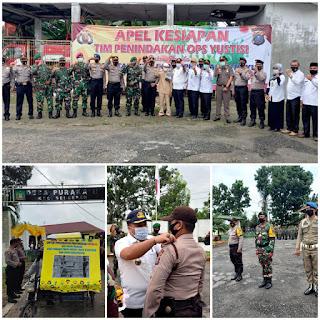 Polres Langkat Gelar Apel Kesiapan Operasi Yustisi Prokes Covid-19 di Teluk Aru