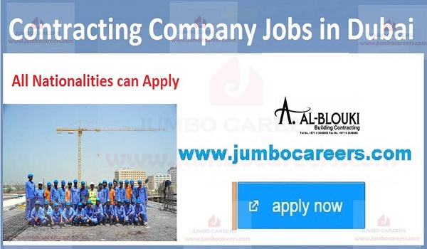 UAE urgent contracting company jobs,