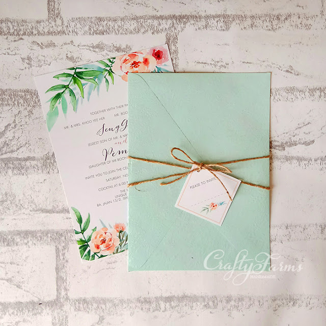 Mint Garden Themed Wedding Card