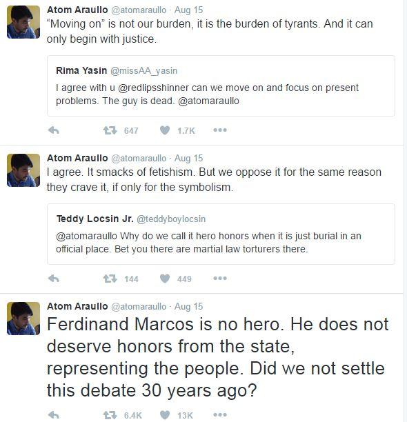 Atom Araullo tweets Marcos