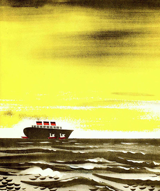 a Leonard Weisgard 1942 children's book illustration of a cruise ship with yellow sky