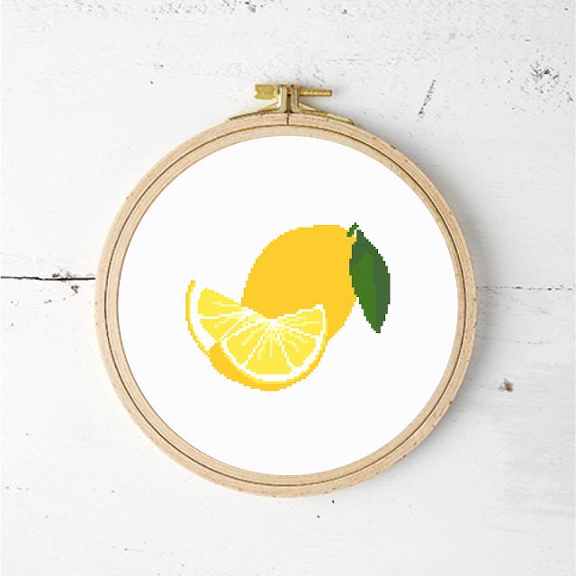 Lemons cross stitch pattern