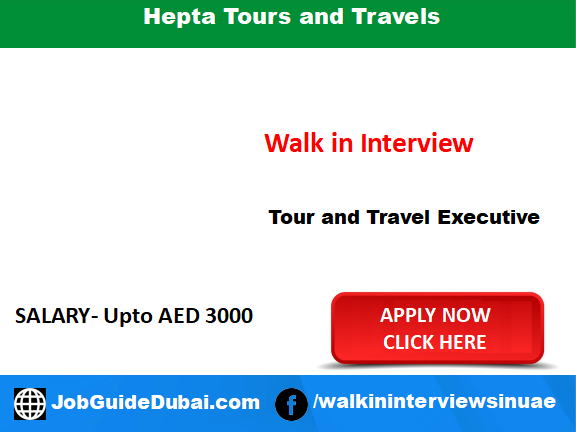 Job in Dubai for Tour and Travel Executive