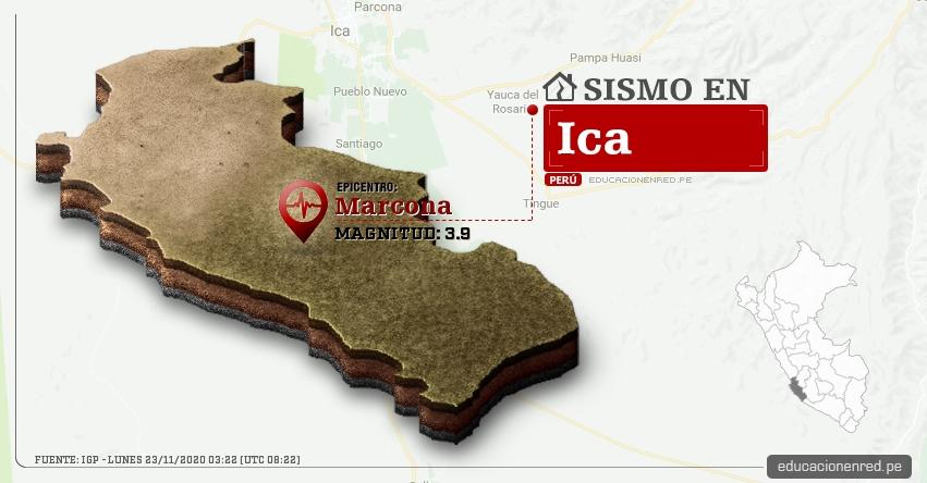 Temblor en Ica de Magnitud 3.9 (Hoy Lunes 23 Noviembre 2020) Sismo - Epicentro - Marcona - Nazca - IGP - www.igp.gob.pe