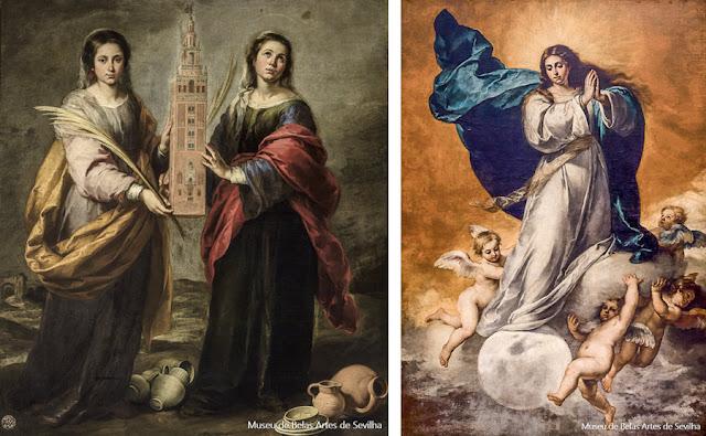 Bartolomé Esteban Murillo no Museu de Belas Artes de Sevilha: Santa Justa e Santa Rufina (1666, à esquerda) e a Imaculada Conceição (1650)