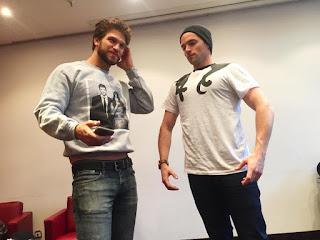 "Keegan Allen in ""The Best Ship"" Ezria sweatshirt, Ian Harding in Minin cat shirt at Germany PLL Convention"