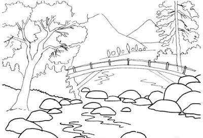 Gambar Sketsa Pemandangan Gunung