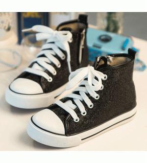 Glittery Sneaker Boots - Black