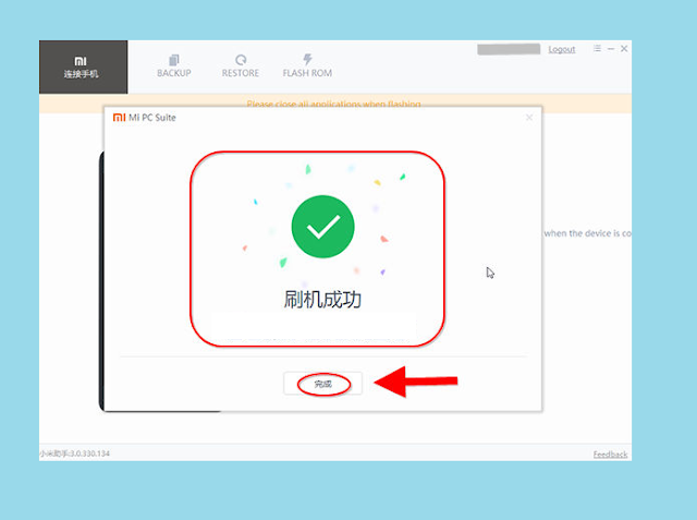 Tampilan Flash Mengatasi Bootloop Xiaomi dengan Mi PC Suite Sukses