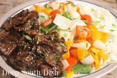 Air-Fryer Marinated Ribeye Steak and Peppers