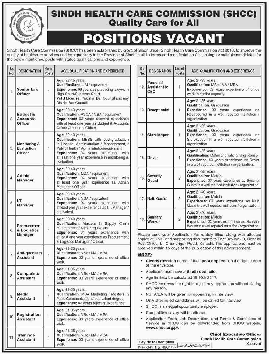 Sindh Health Care Commission (SHCC) Vacancies 2017,jobs in sindh,karachi jobs,Jobs in Karachi, MBA Jobs, Jobs in Pakistan, Pakistan Jobs, IT jobs