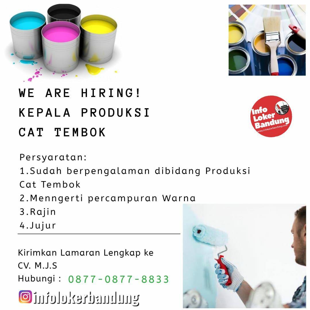 Lowongan Kerja Kepala Produksi Cat Tembok CV. Martheva Jaya Sentosa Bandung Juni 2019