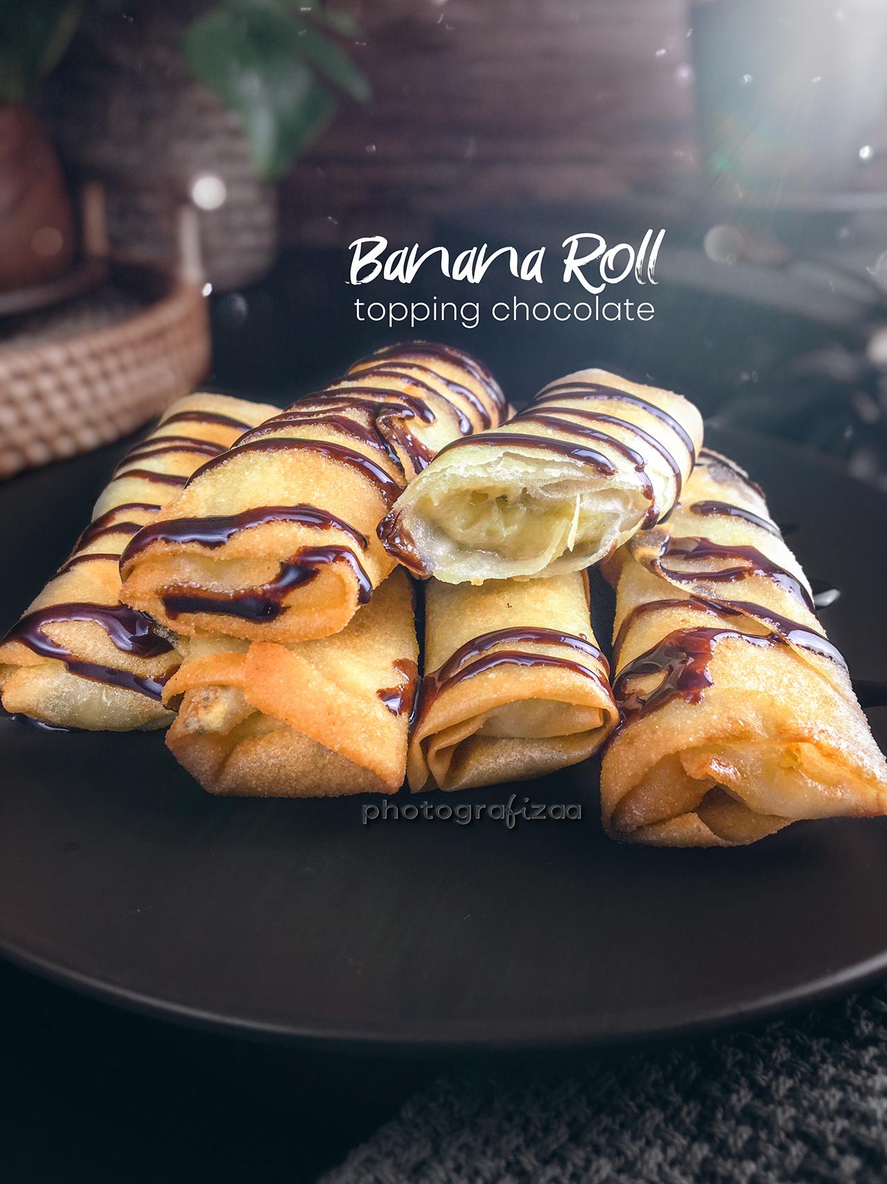 Resipi Popis (Banana Roll) Topping Chocolate