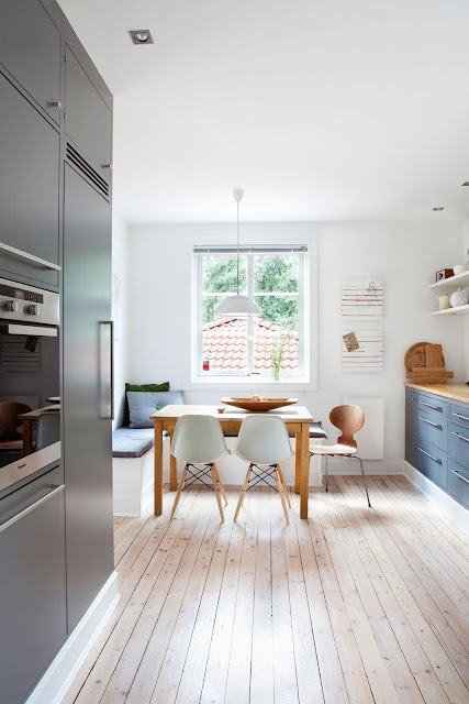 The kitchen is large and airy