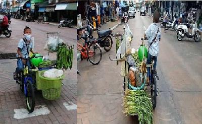 Viral! Di Tengah Pandemi Corona, Bocah Ini Kayuh Sepeda Jualan Sayur
