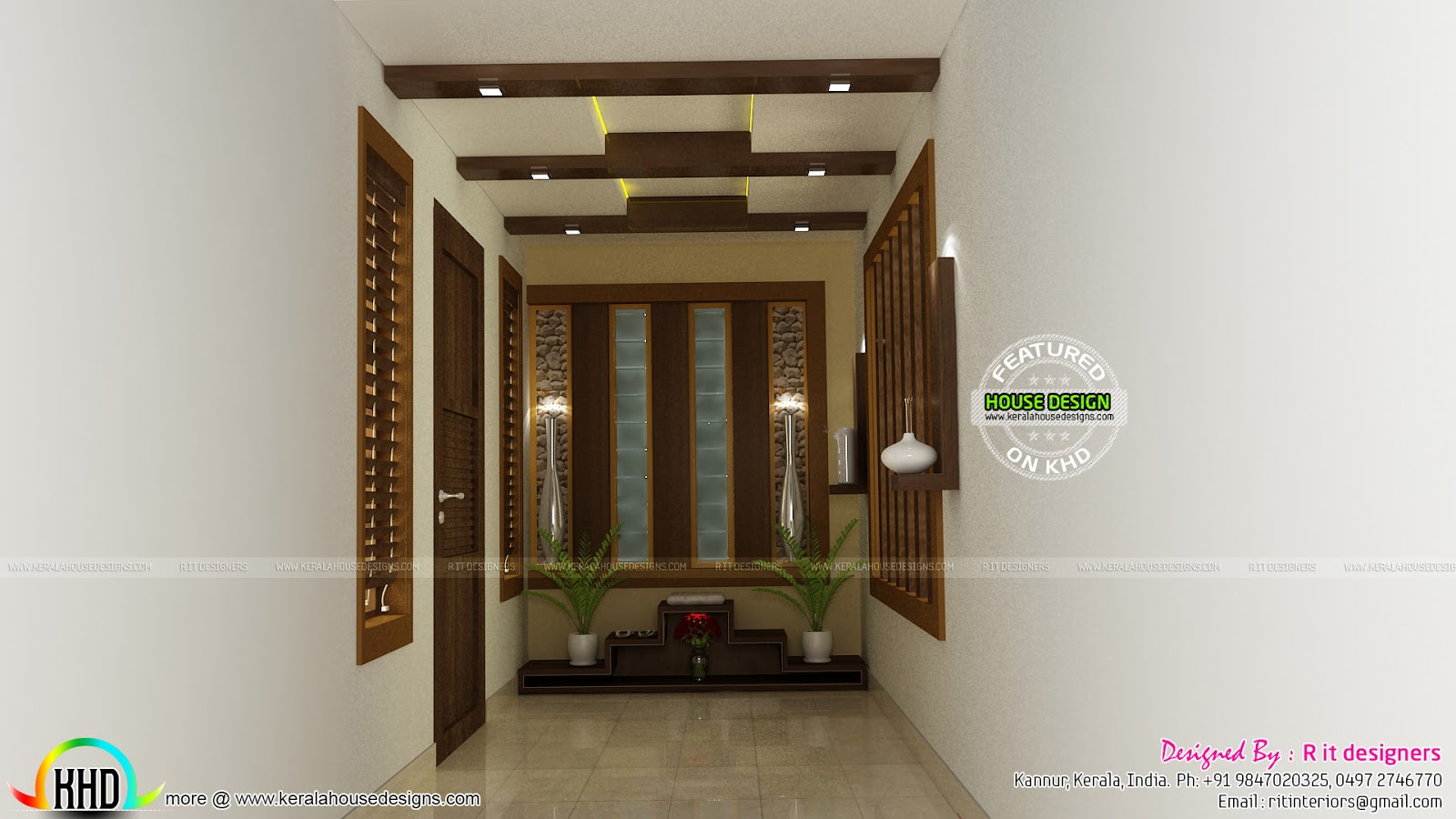 Living kitchen bedroom interiors kerala home design for Kerala foyer designs