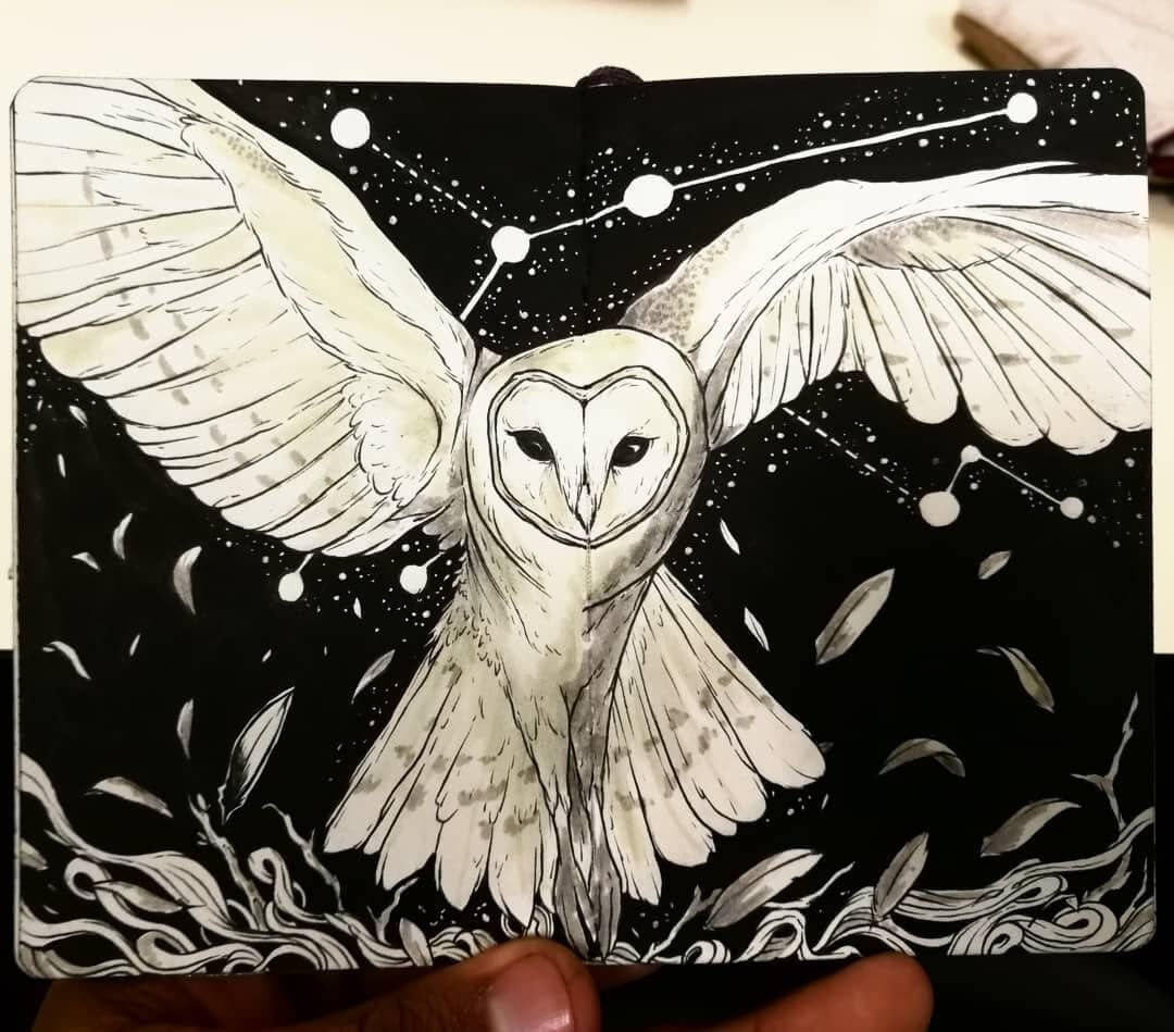 05-Ghost-Owl-Bráulio-Monteiro-Moleskine-Pen-and-Ink-Animal-Illustrations-www-designstack-co